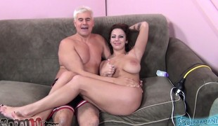 Huge breasted brunette Lylith Lavey deepthroats and bonks a large stick