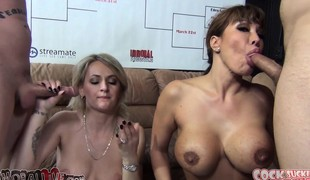 Wicked babes Ava Devine and Natasha Starr engage in a blowjob contest