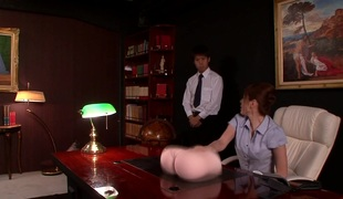 Japanese office babe sucks in advance of squirting