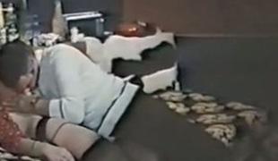 Guy feeds blond Euro milf and fucks her shaggy twat