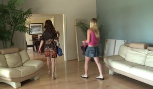 Golden-haired is curious about her hot host's pulsating vagina
