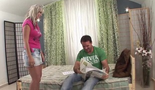 Petite blonde minx Alexia has her hairy twat pounded