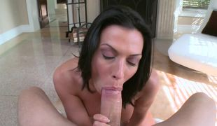 Rachel Starr POV blowjob shows her amazing fellatio skills