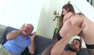 Old husband is watching whilst his brunette wife gets rammed hard