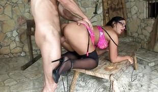 store pupper blowjob lingerie strømper briller sucking