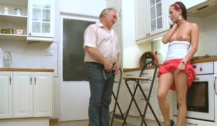 Lovely youthful hottie rides ding-dong of an old guy and then licks it