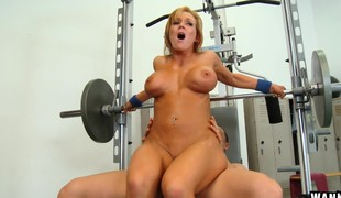 Big tit blond Nikki changes from machines to a dick this babe blows and rides