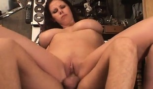 Buxom Gianna Michales deep throats, titty bonks and acquires pumped