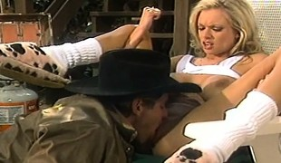 Stacked blonde beauty receives pounded hard by the sheriff in both holes
