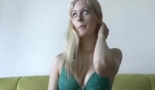 Blonde girl in japanese swimsuit