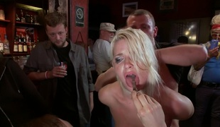 Smoking Sexy Blonde is Fucked in Public Bar