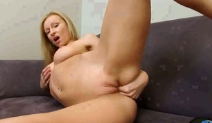With gigantic knockers and shaved snatch has a body of a goddess and shows it all in steamy solo act