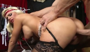 Johnny Sins bangs Alena Croft with gigantic jugs as hard as possible in steamy action