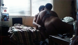 Black BBW receives dicked hard in his room