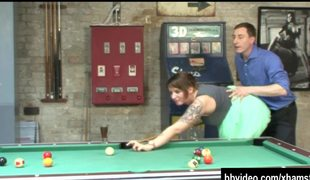 Busty german milf fuck on billiard table