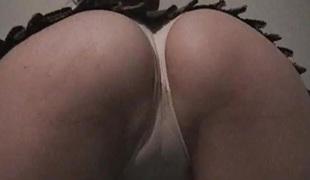 Schoolgirl upskirt geek cameltoes white panties fingers