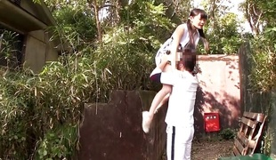 Tiny japanese hottie fingerfucked outdoors