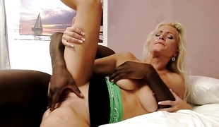 Breathtaking blond loves massive cock