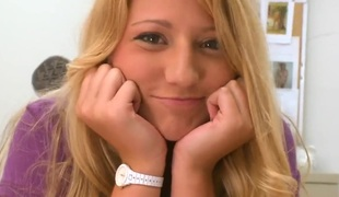 Blonde Neesa makes mans sexual fantasies come true with her assist of her eager hands