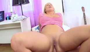 Blonde with big tits is doing anal sex with a really horny gut