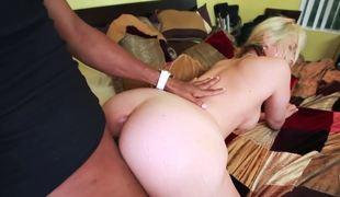 Perverted blonde angel likes to be pounded by large black horny stud