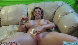 Voluptuous milf Sara Jay drives a long dick to pleasure with her lips