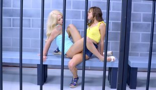 Slender cowgirl with sexy nice ass moaning when fucked in prison