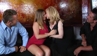 Bewitching blonde with large love melons in stocking getting banged doggystyle in foursome