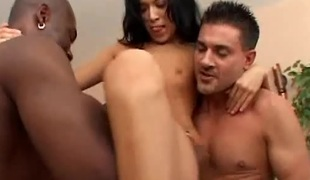 Melissa and Janelle receive rammed in an interracial foursome