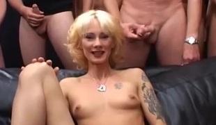Slender german MILFs 1st extreme gangbang bukakke fuck party orgy