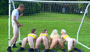 Four magnificent soccer players give their twats to the tutor