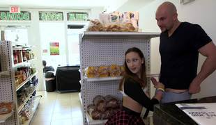 Lucky bald chap fucks a charming teenage girl in the mini market