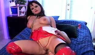 Crazy dark brown gets as many toys and a dick stuck up her butt