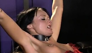 Hot brunette slave has two mistresses who want to strapon fuck her