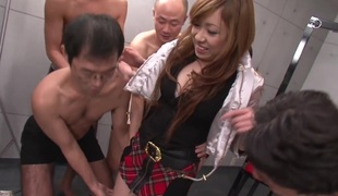 Real Japanese schoolgirl in a fuck and engulf bang