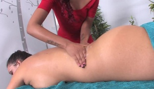 Sexy Skin uses her fingers and throat to massage Alison