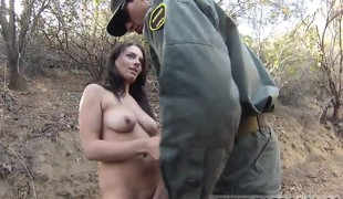 brunette babe utendørs blowjob uniform hd