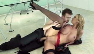 Milf Leigh Darby with huge tits turns Danny D on to the point of no return before they fuck hard
