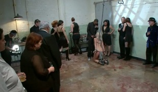Hellacious slut acquires a coarse group drubbing for her snatch