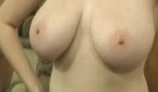 Busty non-professional Kathryn playing her tits and pussy