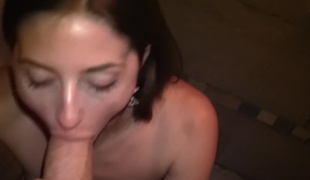 Hot amateur Spanish girl engulfing and stroking his big cock