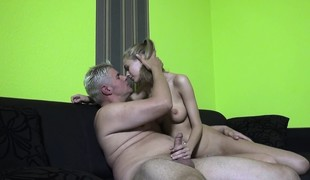 Hawt slender blonde with large hooters Penelope has a excitement for cock