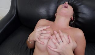 Latina with fine natural tits is getting a really good titfuck