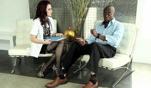 naturlige pupper puppene amerikansk lingerie strømper massasje interracial rødhårete handjob