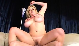 Blonde with giant love muffins blows him and they swing wild when she bonks