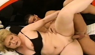 Two lustful older plumpers getting pounded hard by lustful young fellows