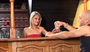 Cute European barmaid fucking and swallowing