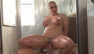Angel Allwood and Clover are taking a shower together. The couple loves it when hawt water covers them while they are with one another, making lover. The blond has pleasing large breasts.