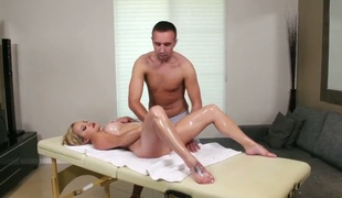 Gauge is a sexy blonde thing that's underneath tons of stress. That's why this sex massage really does her body good, especially when her pussy gets caressed.