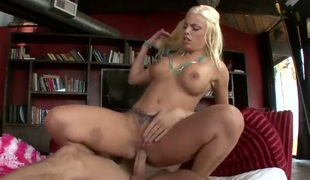 Blonde Britney Amber with large milk sacks and clean love tunnel puts her luscious lips on guys hard snake